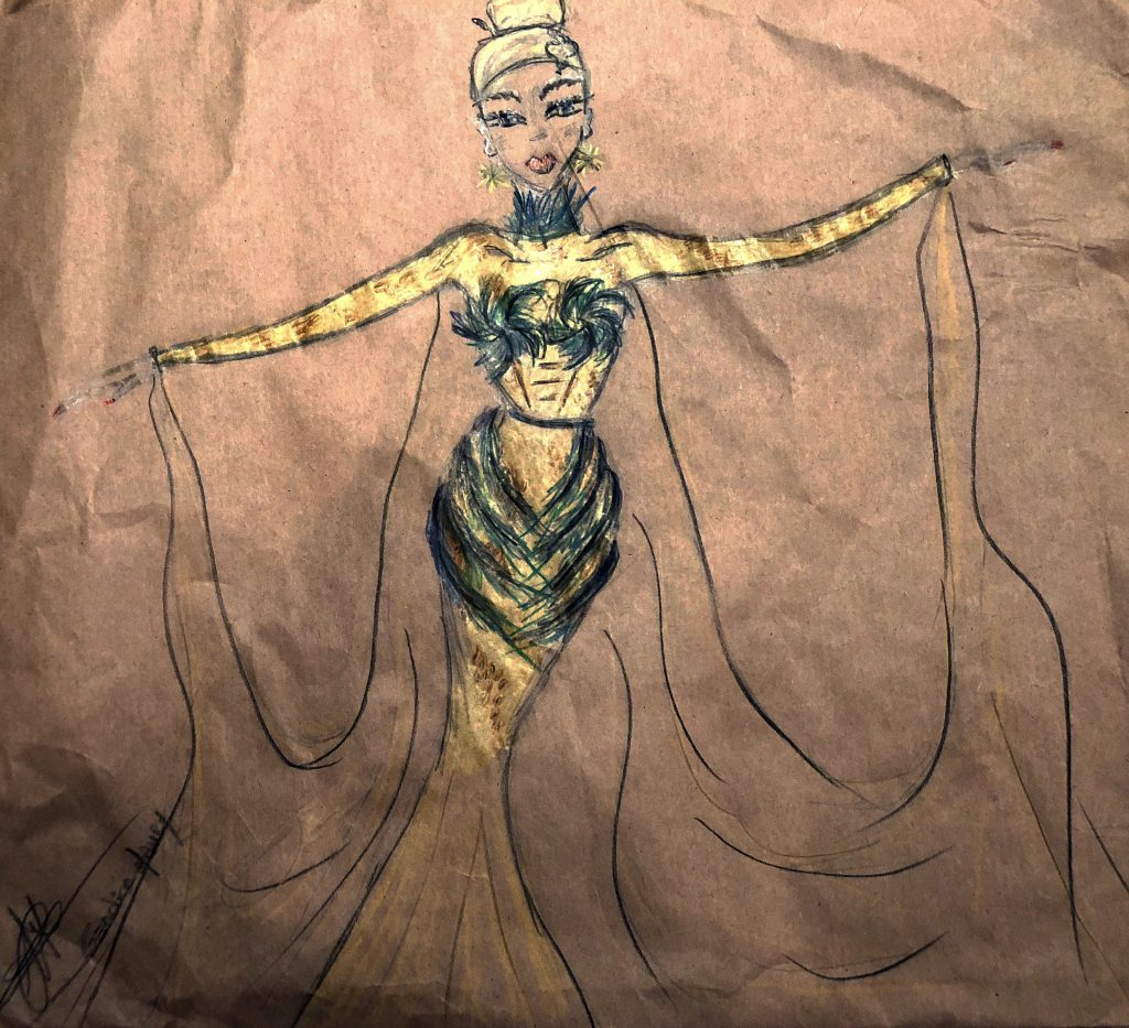 cleopatre dress fashion mode draw by candice m